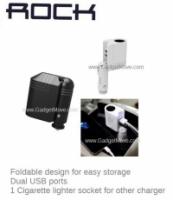 ROCK 2 in 1 Foldable 2 Dual USB Car Charger Cigarette Lighter Socket