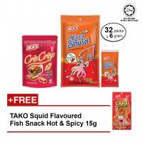 IKA'S Fish Snack Crunchy Fish Rolls 55g & Karasquid Fish Snack 32pkt x 6g FOC TAKO 15g