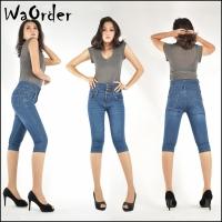 328 Waorder Women Stretchy Corset High Waist Jeans Dark Blue and Light Blue