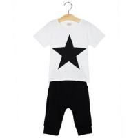 2PCS BOYS FIVE-POINTED STAR PRINTED ROUND COLLAR T-SHIRT LEISURE HAREN PANTS CLOTHING SET (WHITE)