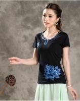 Women Elegant Floral Black Blouse Tops T-shirt