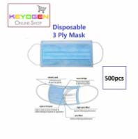 Keyogen 500pcs 3 ply Disposable Surgical Face Mask - non woven - ear loop - anti Haze