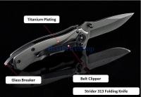 Strider 313 Tactical Titanium Folding Survival Knife Camping Blade
