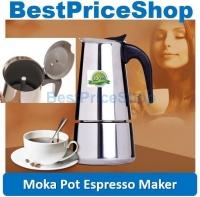 Stainless Steel Stovetop Moka Pot Espresso Coffee Maker Latte Art Bean