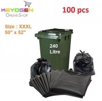 "100pcs keyogen garbage bag for 240 Litre Dustbin / Waste Bin XXXL 50"" x 52"" Garbage bag"