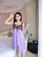 Irregular Sexy Silk Satin Nightwear Lingerie Pyjamas Sleepwear Dress Baju Tidur