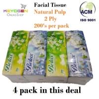 Keyogen 4 pack Natural Pulp 2 ply Facial tissue 200 sheet (total 800)