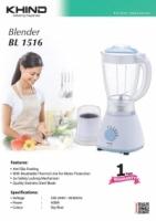 NEW KHIND BL1516 Blender - anti-slip rubber footing - 1.5L glass jug