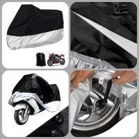 [DARK CLOUD - 190T - BLACK + SILVER] MOTORCYCLE RAIN UV COVER BELT LOCK/ BAG MOTORBIKE MOTOR