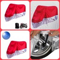 [DARK CLOUD - 190T - RED + SILVER] MOTORCYCLE RAIN UV COVER BELT LOCK/ BAG MOTORBIKE MOTOR