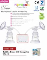 Halford Duo Rechargable Double Breastpump - BPA Free - 2 year warranty COMBO Breast Milk Storage 7oz(25pcs)