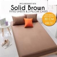 450 Thread Count Cotton Fitted Bedsheet 3件套床单- Brown - Mattress Max Height 30cm