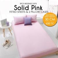 450 Thread Count Cotton Fitted Bedsheet 3件套床单- Pink - Mattress Max Height 30cm