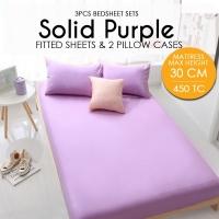 450 Thread Count Cotton Fitted Bedsheet 3件套床单- Purple - Mattress Max Height 30cm