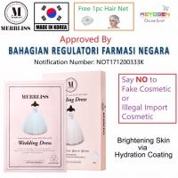 MERBLISS Wedding Dress Intense Hydration Coating Pearl Nude Seal Mask (5 Sheets) FREE 1pc Hair Net