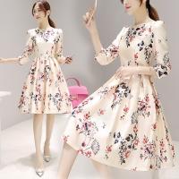 Women's sleeved dress female floral skirt (M)