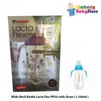 US Baby Lacta Flex PPSU Wide Neck Bottle with Straw - L330ml