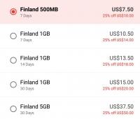 Finland  + Starter Pack ( 100Mb-1GB )