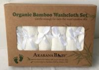 Akarana Baby Best Quality And Value Organic Bamboo Washcloth 6pcs/Set (White)