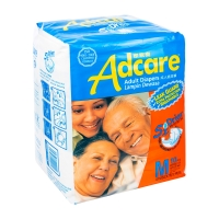 Adcare Adult Diapers Leak Guard (M Size 10 PCS)x 12 BAGS+ FREE 1PCS