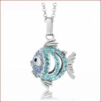 Lava Stone Diffuser Necklace -Fish blue