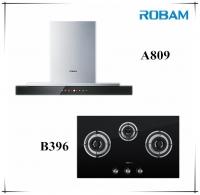 Robam A809 Chimney Hood + B396 3 Burners Glass Hoob