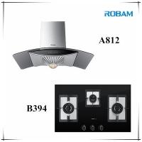 ROBAM A812 Chimney Hood + B394 3 Burners Glass Hob