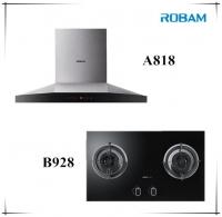ROBAM A818 Chimney Hood + B928 2 Burners Glass Hob