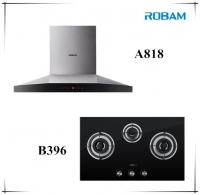 ROBAM A818 Chimney Hood + B396 3 Burners Glass Hob