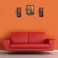 3 Pc Set Of Radha Krishna Paintings With Frame 5.2 X 12.5, 9.5 X 12.5, 5.2 X 12.5 Inch
