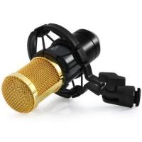 BM - 800 CONDENSER STUDIO SOUND RECORDING MICROPHONE WITH SHOCK MOUNT SOUND CARD (BLACK)