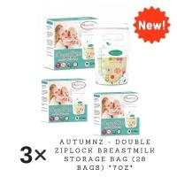 3 x Autumnz - Double ZipLock Breastmilk Storage Bag 7 oz (28 bags per box)