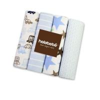 Holabebe Newborn Essential: Cotton Flannel Baby Blanket 4 in 1 Pack (30' x 30') (Blue Star)