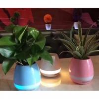 Intelligent Touch Music Plant Bluetooth Speaker LED Flower Pot (White)