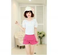Korean Style Women Slim Fit Short Pants Pink Blue Seluar Pendek
