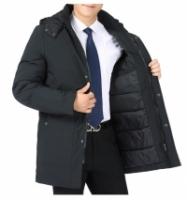 Water Proof Men Winter Jacket Hooded Autumn Jacket Coat Blazer (Black/Army Green)