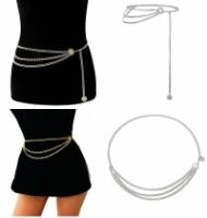 CELLY Women Metal Chain Retro Belt High Waist Hip Coin Charms Waistband Body Chain