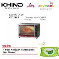 New Khind Electric Oven 52L OT5205 ( for up to 3kg chicken ) FREE 1 Pack Keyogen Multipurpose Wet Tissue 80pcs per pack