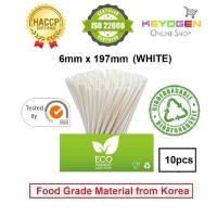 Keyogen 10pcs 6mm x 197mm Eco Biodegradable Paper Straw White ( Food Grade ) - HACCP - for restaurant