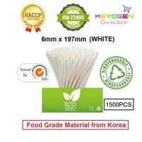 Keyogen 1500pcs 6mm x 197mm Eco Biodegradable Paper Straw White ( Food Grade ) - HACCP - for restaurant