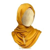 VERCATO Premium Eyelash Luxe Satin Shawl in Mustard