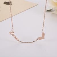 Fashion Titanium Steel Love U Heart Shape Necklace 18k Rose Gold Gift Couple Pendant Clavicle Chain