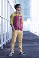 Casual Long Sleeve Shirts Woven Maroon Yellow with Sleeve Tabs