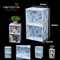 Keyogen Printed Cartoon Design 2 Tier wooden multipurpose Utility storage shelf organiser box rack