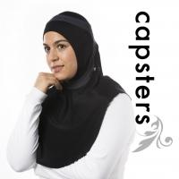 Capsters Runner Xtra Long Sports Hijab (Black & Dark Grey)