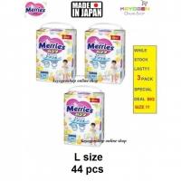 Super Jumbo Pack Made in Japan - 3 Pack L size 44 pcs Merries baby premium grade walker pant diapers - extra comfort (BIG SIZE)