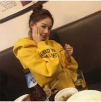 ES 🌹 Print Langarm Crop Hoodie Sweatshirt (Yellow)