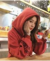 ES 🌹 Print Langarm Crop Hoodie Sweatshirt (Red)