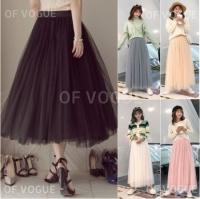 Tulle Black Toto Mesh dress Elastic Waist High Quality Fashion Women's 4 Layers Long Dress Maxi Pleated Skirt