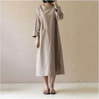 Women's Plus Size 3/4 Sleeve Loose Cotton Long Dress